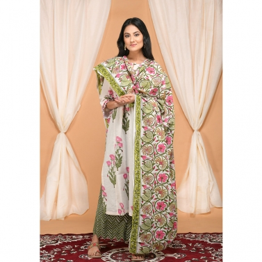 Tropical print dupatta set with zig zag hem palazzo