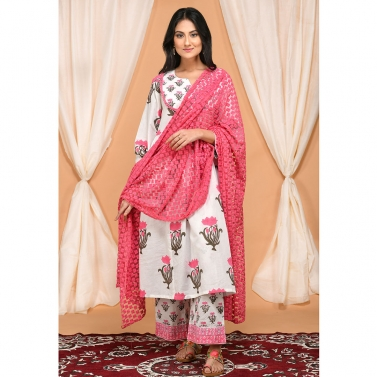 Lotus Block Print Gathered Kurta Set with Embroidered Dupatta