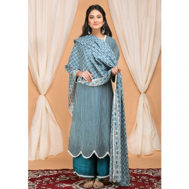 designer-womens-wear/striped-scallop-kurta-set-with-graphic-block-print-dupatta