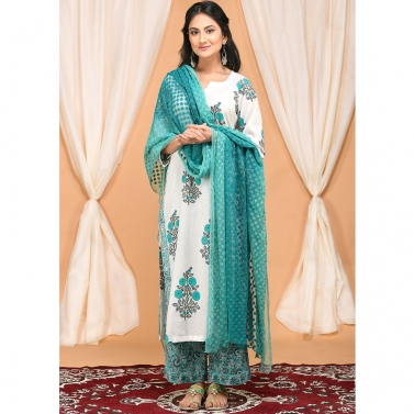 Turquoise Green Boota Kurta Set with Tonal Embroidered Dupatta
