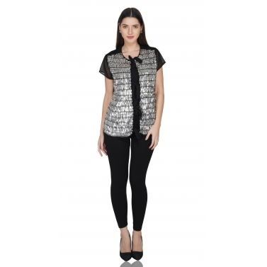 Silver leaf knotted top