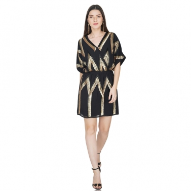 Geometric mock wrap dress