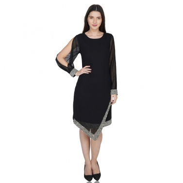 Asymmetric hem, cold sleeve dress 1