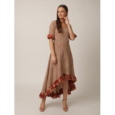 PAKHI BOTTOM RUFFLE DRESS - CHECKS