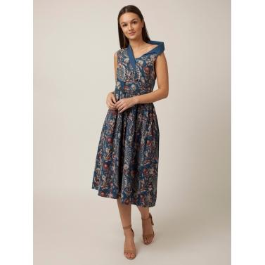 PAKHI ONE SIDE OFF SHOULDER DRESS - BLUE