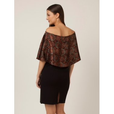 PAKHI OFF SHOULDER CAPE TOP - BLACK