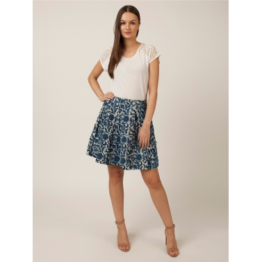 PAKHI BOX PLEAT SKIRT - INDIGO