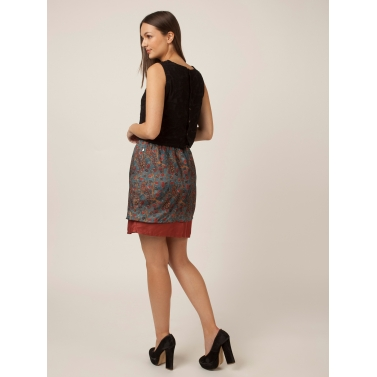 PAKHI TWO LAYER SKIRT - PEACOCK