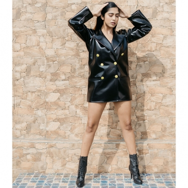Noir Faux Leather Blazer Dress