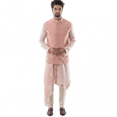 Pearl Pink Bandi in Raw silk with French Knotwork and Zardozi Embroidery with A Dusty Pink Asymmetri