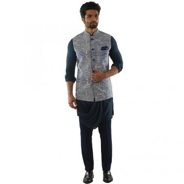Navy Blue Draped Kurta paired with a Navy Pant Pajama &  Checks Printed Jacket