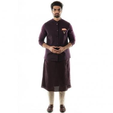 A Purple Stichlined Nehru Jacket.
