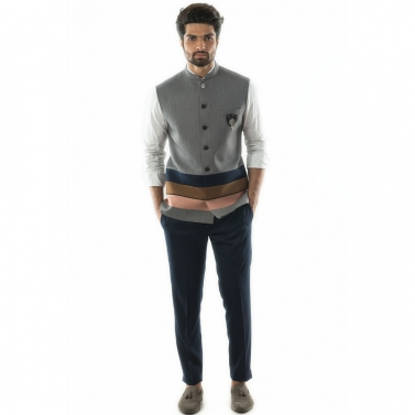 Bandi in Textured Grey Fabric with Tri-Colour Panel Detail.