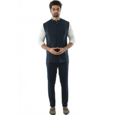 Navy Blue Bandi in Cord Piping detail on the front in symmetrical patterns.