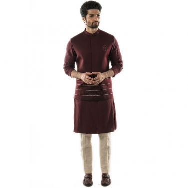 Red Wine Bandi in Linen Satin with Printed Cord Detailing and Geometric Motif Embroidery