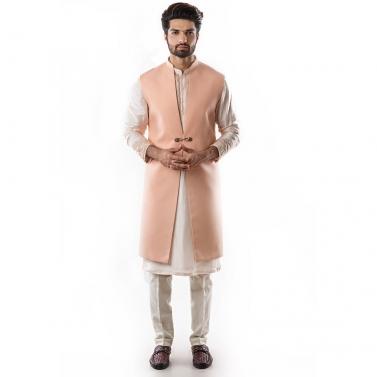 Powder Pink Long Line Nehru Jacket