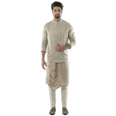 An Oyester Grey Nehru With Minimal Zari And Threadwork Embroidery.