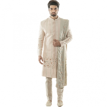 Baby Pink Sherwani in Combination Jaal and Linear Hand Embroidery, Using French KnotWork and Zardozi