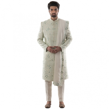 Mint Green Sherwani with Self Threadwork in Shades of Green, Using Challa and Aari Technique. Paired