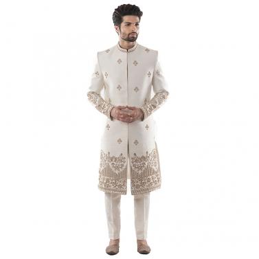 Ivory Sherwani With Heritage Embroidery Using Maal Dabka Work. Paired with Cream Pant Payjama