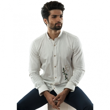 designer-mens-wear/a-white-pinstriped-shirt-with-geometric-floral-embroidery-motif-on-one-panel-and-stylised-cuff-detai