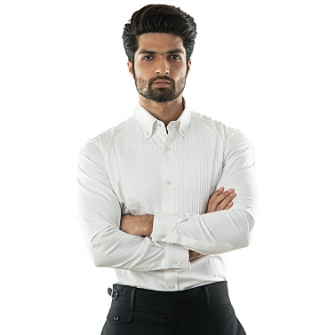 designer-mens-wear/a-formal-white-pintucked-shirt-with-button-down-collars-and-double-cuff-detailing