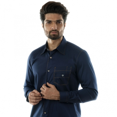 designer-mens-wear/a-navy-casual-shirt-with-coral-stitchlines-and-stylised-pocket-accessorized-with-mother-of-pearl-b