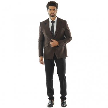 designer-mens-wear/textured-soil-brown-blazer-with-notched-lapel-paired-with-black-trousers