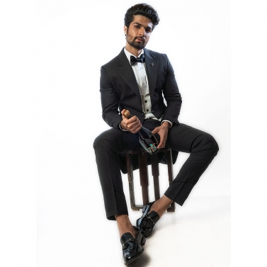 designer-mens-wear/black-trail-tuxedo-paired-with-a-v-neck-waistcoat-and-narrow-fitted-black-trousers
