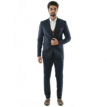 designer-mens-wear/a-3-piece-suit-with-a-navy-one-button-blazer-paired-with-a-tan-colored-waistcoat-comes-with-narrow