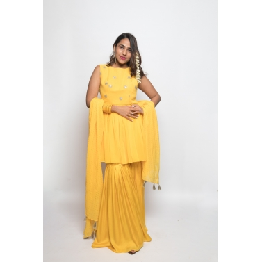 Yellow sharara set