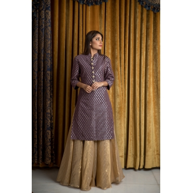 NOTORIOUS PURPLE KURTA & GOLD SKIRT SET