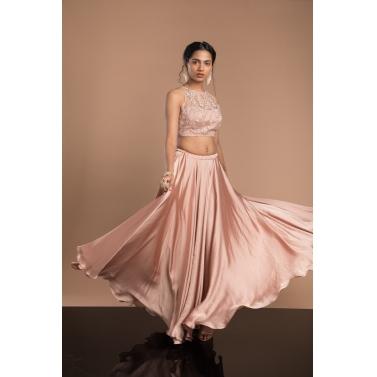 Peach crop top & skirt