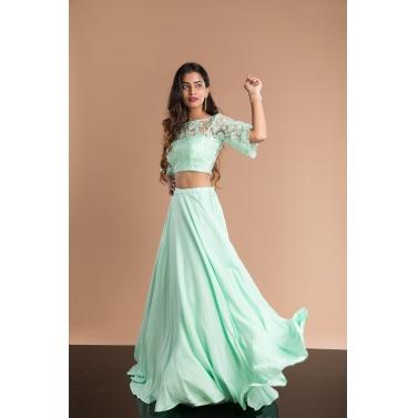 Powder green crop top & skirt set