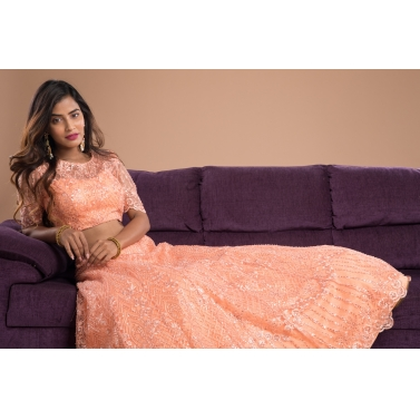 Pastel orange lehenga