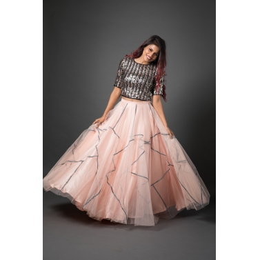 Multi coloured sequence top & pink tulle skirt