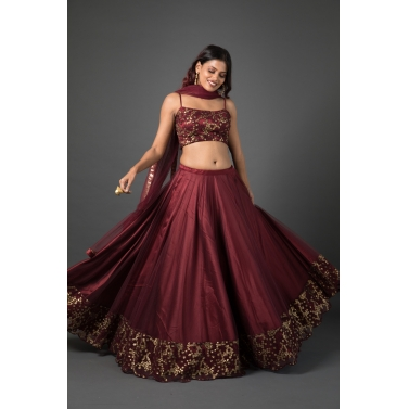 Sequined wine lehenga set