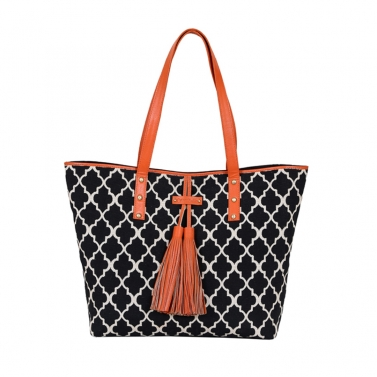 TARIFA tassel Tote - Black & orange