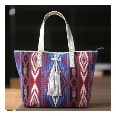 TARIFA tassel Tote - Red & Blue
