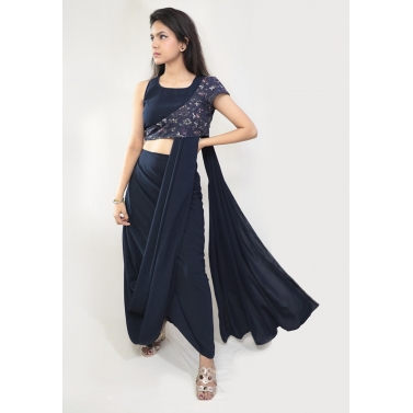 A Ready-To-Wear Drape Saree with an asymmetrical floral blouse