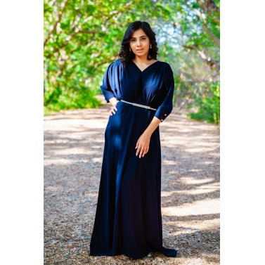 A Navy Blue Flared Gown