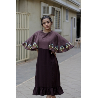 Brown Hand Embroidered Dress With Circular Sleeves