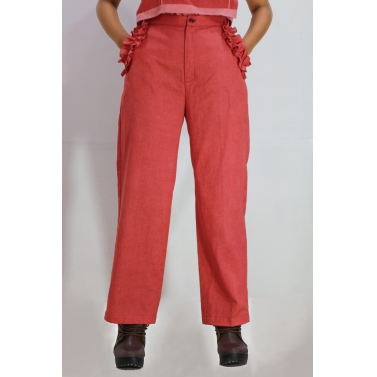 Red Frill Pants