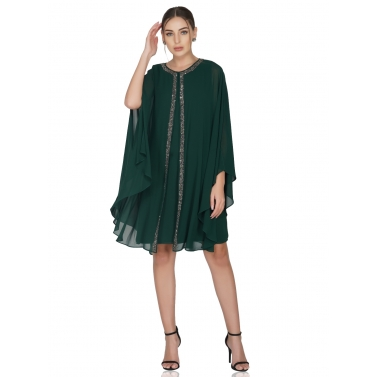 Green Mantle Styled Layered Dress