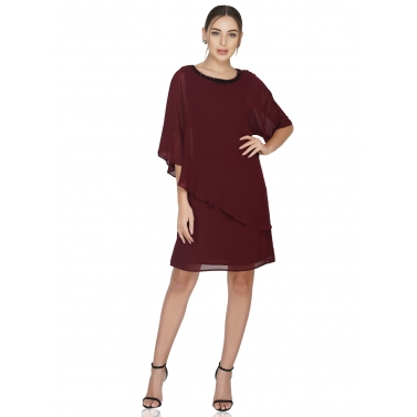 Popover Dress With Neck Embellishment