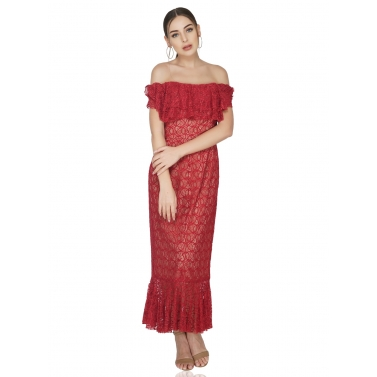 Off Shoulder Red Maxi With Inside Corset