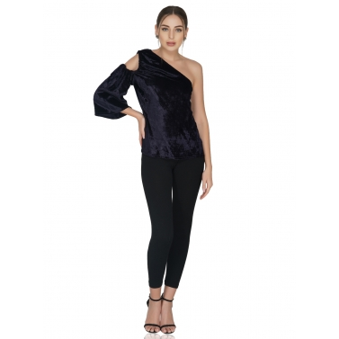 One Shoulder Velvet Top