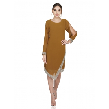 Asymmetric Hem, Cold Sleeve Dress1