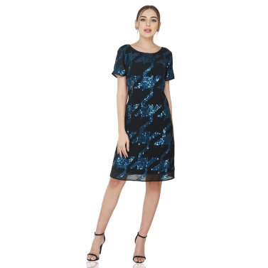 Blue Hounds-tooth Black Dress