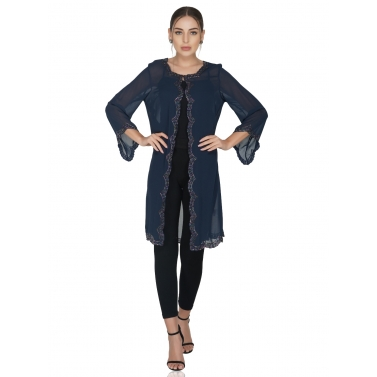 Scallop Edge Navy Long Shrug
